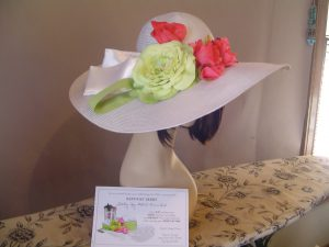 A hat to match an invitation for a Derby party.