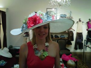 Derby hat done to complement necklace.