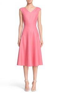 Michael Kors Double Face Stretch Silk Fit and Flare Dress
