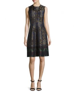 Etro Metallic Floral Zigzag Dress