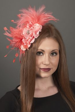 Emily Coral Feather Fascinator