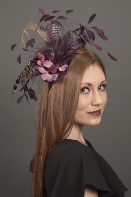 Suzanne Wine Feather Fascinator