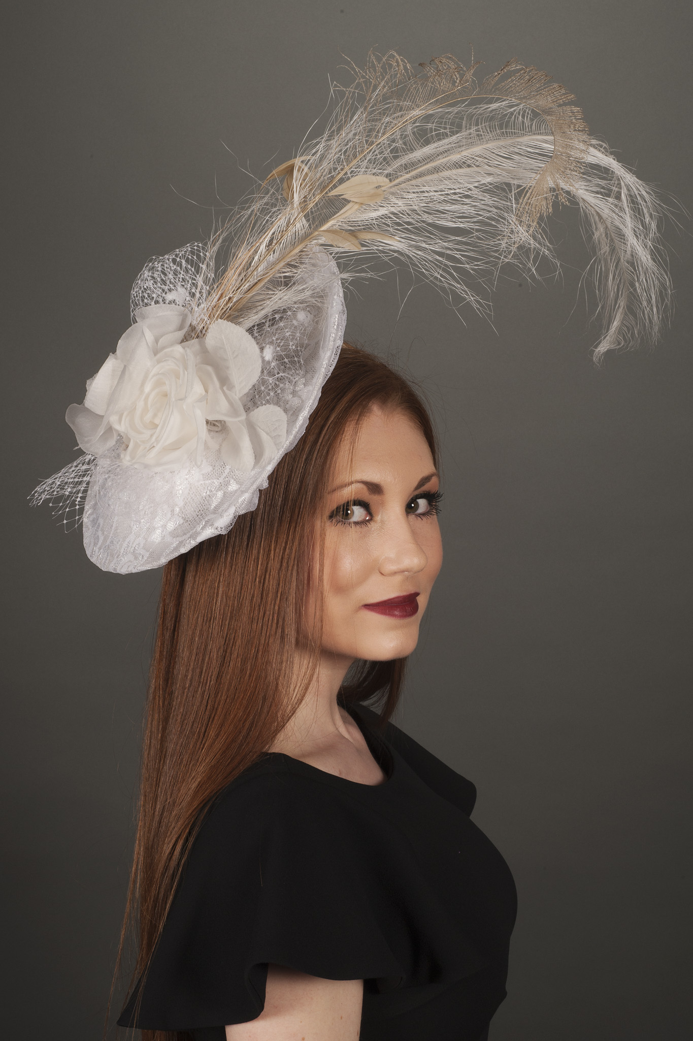 Alexandria White Lace Saucer Derby Hats By Polly Singer Couture Hat