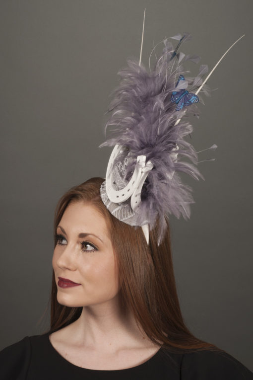 Silver Horseshoe Feather Fascinator