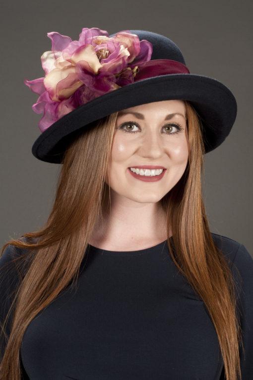 Andrea Navy Magnolia Hat