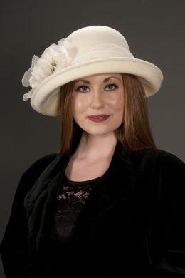 Nancy White Upturned Cloche