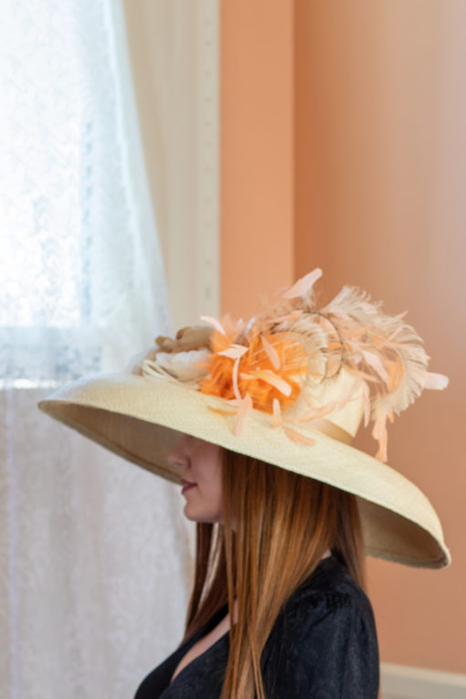 Princess Diana Ivory and Coral Hat for Kentucky Derby