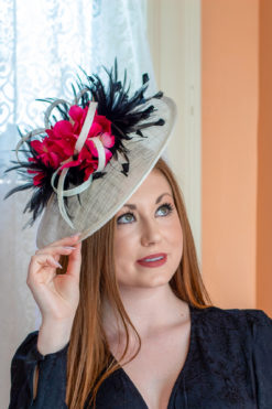 Grace Hopper Black, white and hot pink saucer hat for ky derby
