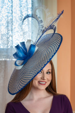 Hedy - Blue and ivory hatinator saucer hat for ladies