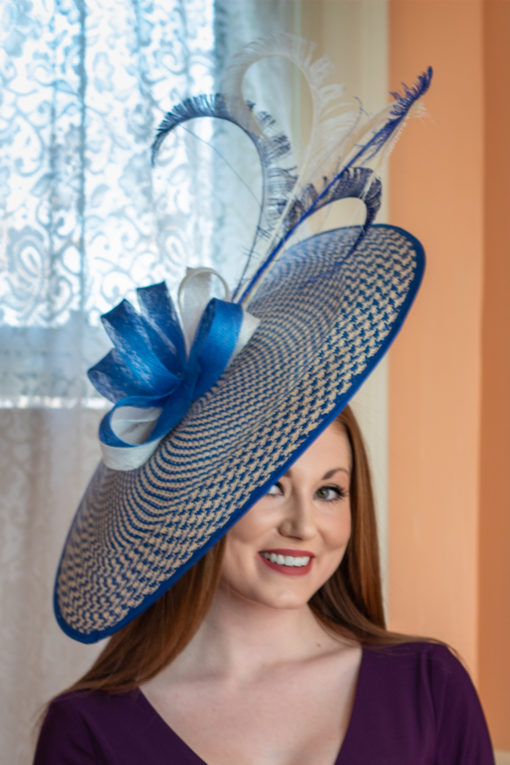 Hedy – Blue and ivory hatinator saucer hat for ladies