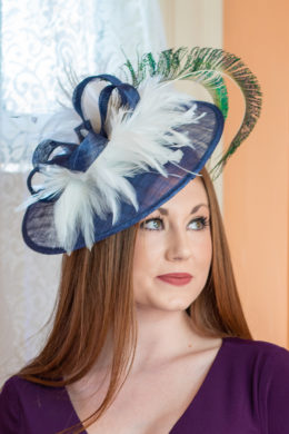 Maria Blue, White and Peacock KY Derby Fascinator