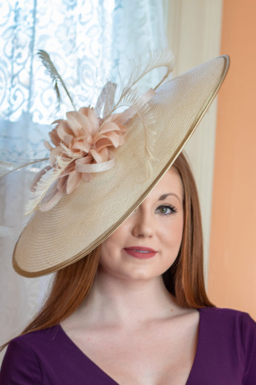 Rosalind Ivory, Pink and Gold Fascinator for KY Derby