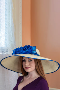 Shirley Royal Blue and Ivory Kentucky Derby Hat