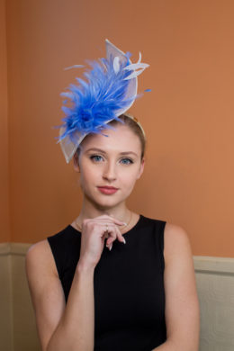 Stephanie Kwolek white and blue fascinator