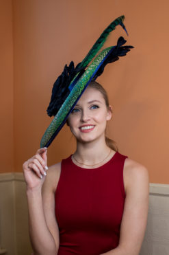 Drina Blue and Green Royal Ascot Women's Hat