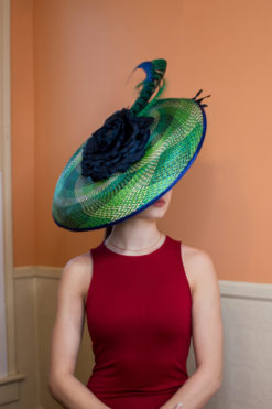 Drina Blue and Green Royal Ascot Hat