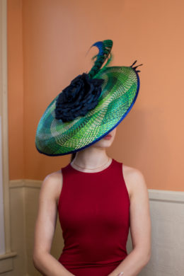 Drina Blue and Green Royal Ascot Hat