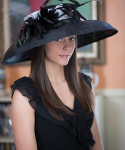 Audrey Hepburn style black and white Kentucky Derby Party hat