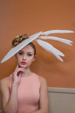Elizabeth Royal Ascot White Lace and Gold Fascinator Women's Hat