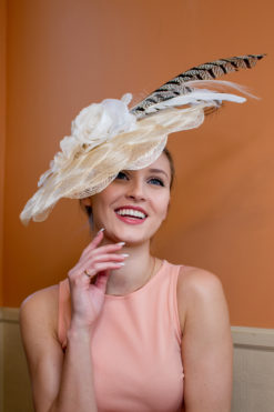 Marilyn Monroe Cream Feather Fascinator Hat for Ascot