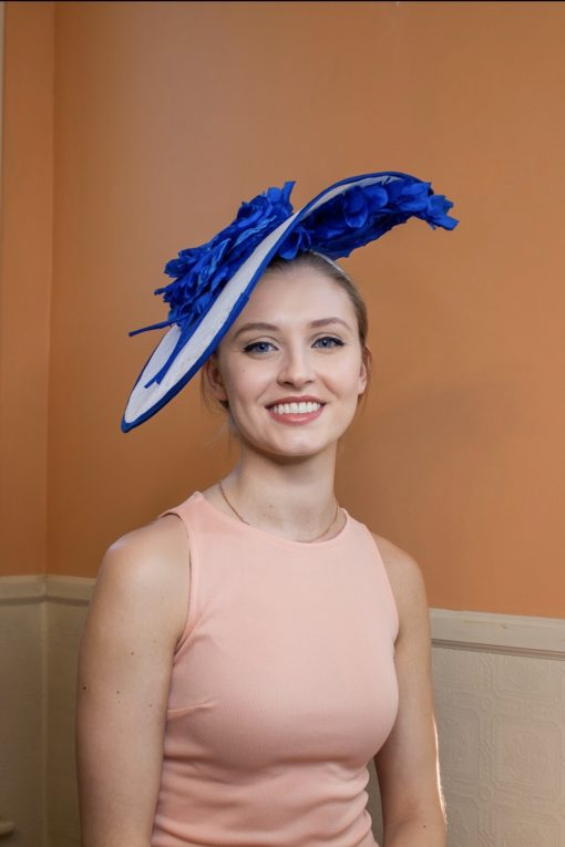Janis Blue and White Fascinator Kentucky Hat