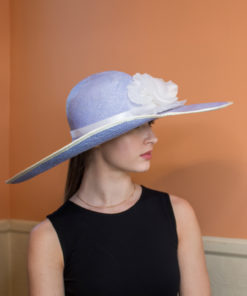 Emmeline Blue and White Summer Ladies Hat