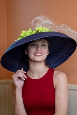 Mary Kies navy Audrey Hepburn style hat