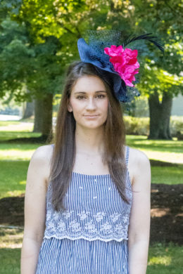 Ada Navy Fascinator with Pink Flowers