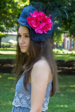 Ada Navy Fascinator with Pink Flower