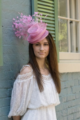 Serena Pink Fascinator with Feather