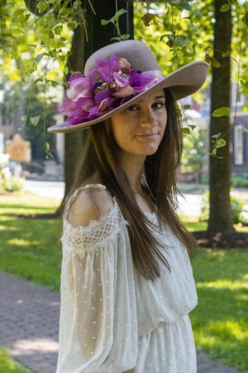 Light Tan Wool Hat With Purple Flowers