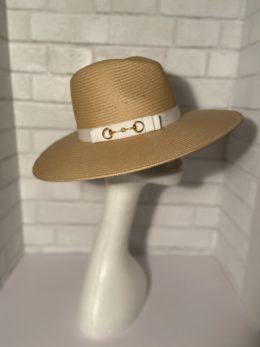 Harriet Tan Ladies Fedora with gold bridle bit