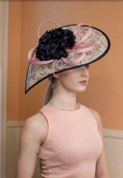 Beryl Paisley Black and Pink Fascinator