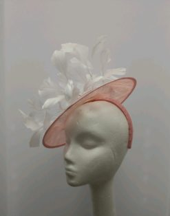 Lucille Pink and White Feathers Fascinator Ky Oaks