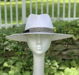 Mona White Panama Summer Fedora Hat for Women
