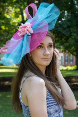 Julia Pink and Blue Fascinator