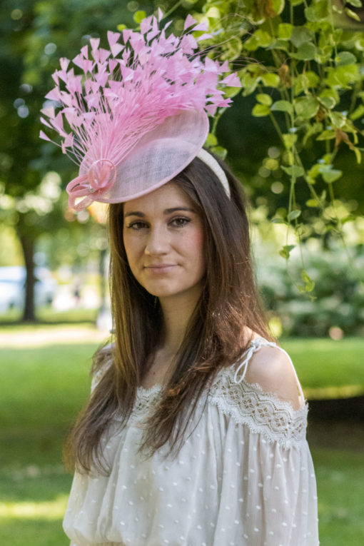Simone Pink Feather Saucer Hat