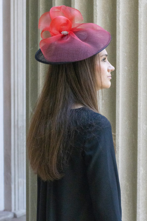 Catherine Red and Black Cloud Fascinator