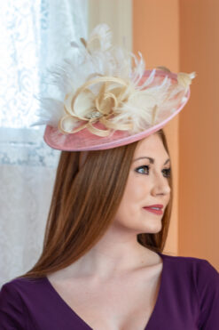 Ann Tsukamoto pink and ivory saucer hat for KY Derby