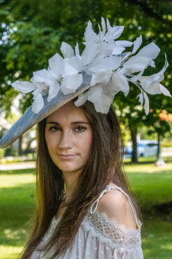 Aretha blue gold and white fascinator