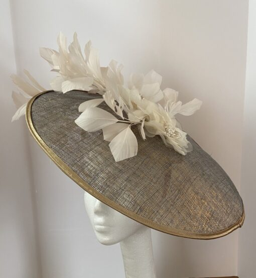 Aretha Blue Gold Ivory Ladies Fascinator Hat