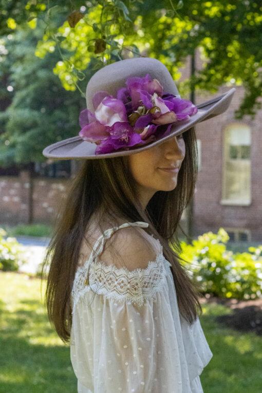 Light Tan Wool Hat With Upturned Brim