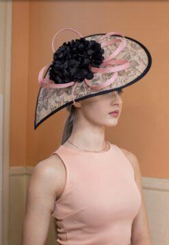 Beryl Paisley Black and Pink Fascinator