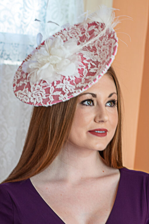 Margaret Pink and White Lace Saucer Hat for KY Oaks