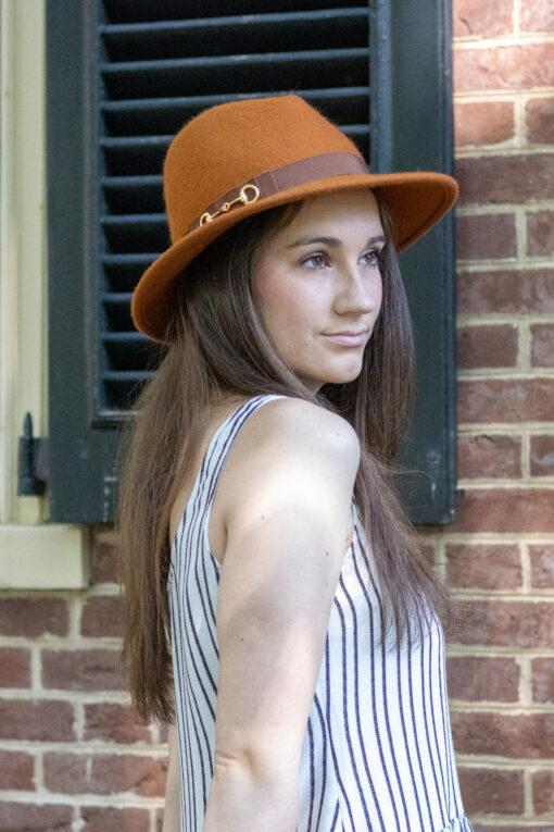 Orange Fedora With Brown Band