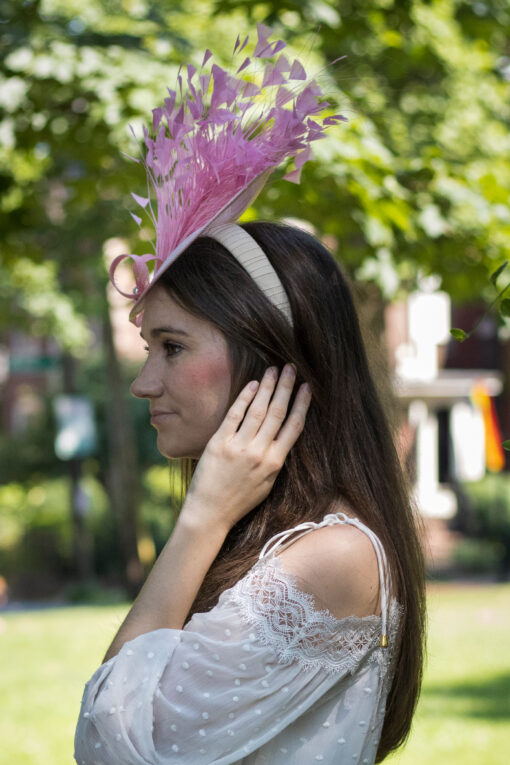 Pink Feather Saucer Hat