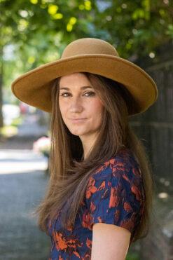 Sally Honey Upturn Brown Profile Wool Hat