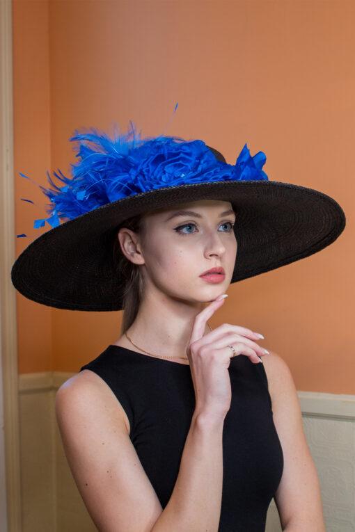 Phillis Black and Royal Blue KY Derby Ladies Hat