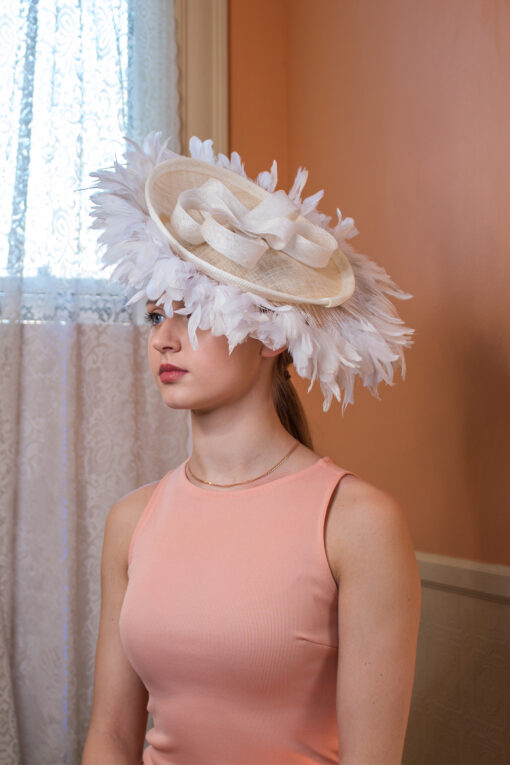 Margaret Mitchell white and ivory fascinator for kentucky derby