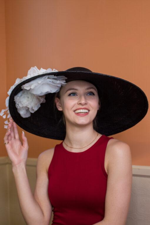Vivien Black and White Kentucky Derby Hat